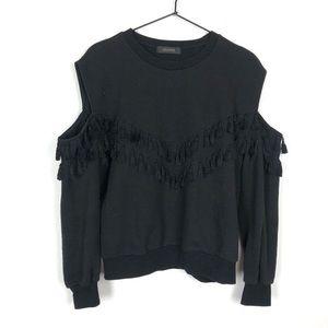 Storets Cold Shoulder Fringe Trim Sweatshirt Black